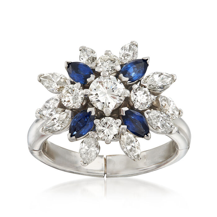 C. 1970 Vintage 2.00 ct. t.w. Diamond and .80 ct. t.w. Sapphire Cluster Ring in 14kt White Gold. Size 7.5, , default
