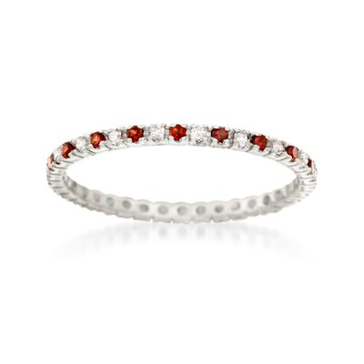 .20 ct. t.w. Garnet and .14 ct. t.w. Diamond Eternity Band in 14kt White Gold, , default