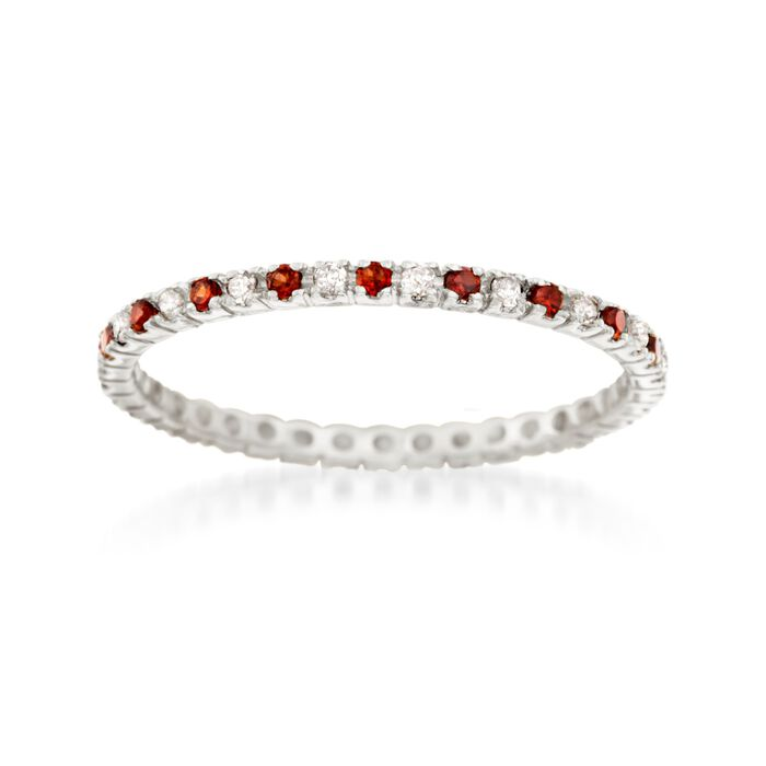 .22 ct. t.w. Garnet and .16 ct. t.w. Diamond Eternity Band in 14kt White Gold. Size 9, , default