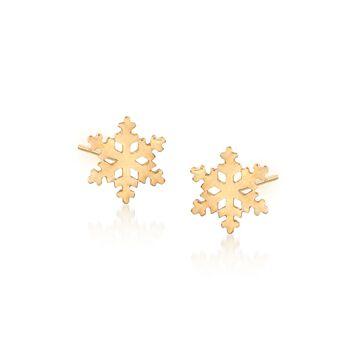 18kt Yellow Gold Snowflake Stud Earrings, , default