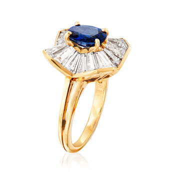 C. 1980 Vintage Oscar Heyman 2.50 ct. t.w.  Diamond and 1.45 Carat Sapphire Cocktail Ring in 18kt Yellow Gold. Size 5.5, , default
