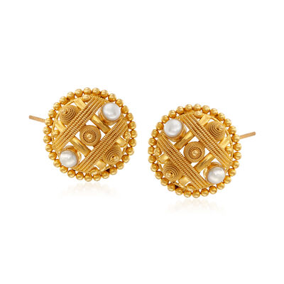 C. 1990 Vintage 4mm Cultured Pearl Beaded Circle Earrings in 22kt Yellow Gold, , default