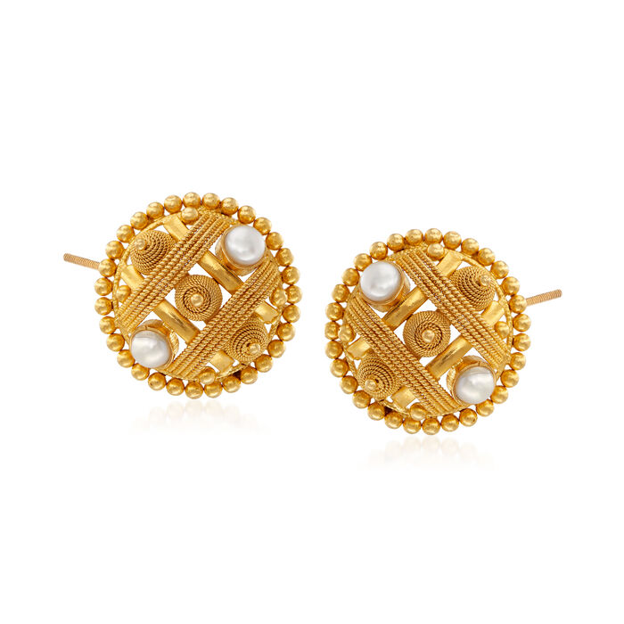C. 1990 Vintage 4mm Cultured Pearl Beaded Circle Earrings in 22kt Yellow Gold