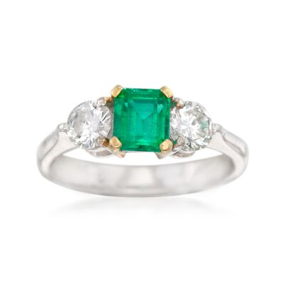 C. 1990 Vintage .70 Carat Emerald and .60 ct. t.w. Diamond Ring in 18kt White Gold, , default