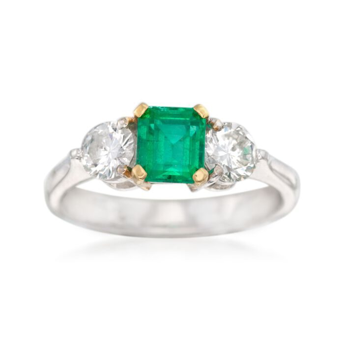 C. 1990 Vintage .70 Carat Emerald and .60 ct. t.w. Diamond Ring in 18kt White Gold. Size 4.5, , default