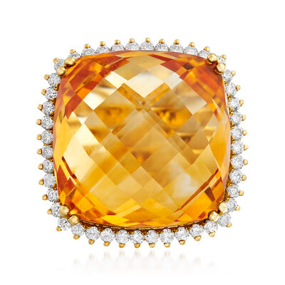 25.00 Carat Citrine and .80 ct. t.w. Diamond Ring in 14kt Yellow Gold