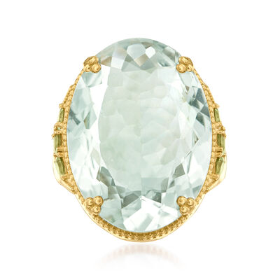 20.00 Carat Prasiolite and .80 ct. t.w. Peridot Ring in 18kt Gold Over Sterling