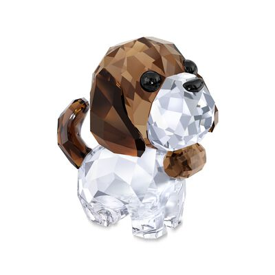 "Swarovski Crystal ""Puppy Bernie the Saint Bernard""  Brown and Clear Crystal Figurine"