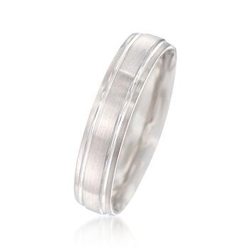 Men's 5mm 14kt White Gold Wedding Ring, , default
