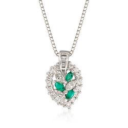 C. 1990 Vintage 1.04 ct. t.w. Diamond and .34 ct. t.w. Emerald Leaf Pendant Necklace in Platinum, , default