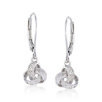 Diamond Accented Love Knot Drop Earrings in Sterling Silver, , default