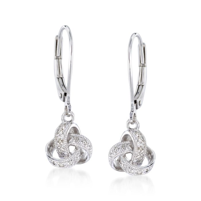 Diamond Accented Love Knot Drop Earrings in Sterling Silver. Leverback Earrings, , default