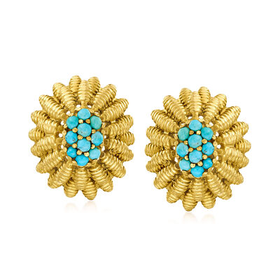 C. 1970 Vintage Turquoise Cluster Flower Earrings in 18kt Yellow Gold