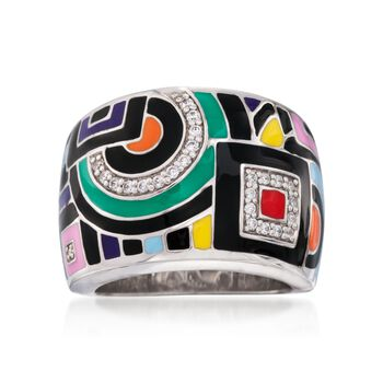 """Belle Etoile """"Geometric"""" Multicolored Enamel and .15 ct. t.w. CZ Ring in Sterling Silver. Size 7, , default"""