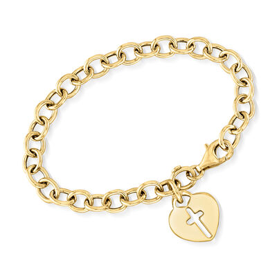 Italian 18kt Yellow Gold Over Sterling Silver Heart and Cross Charm Bracelet, , default