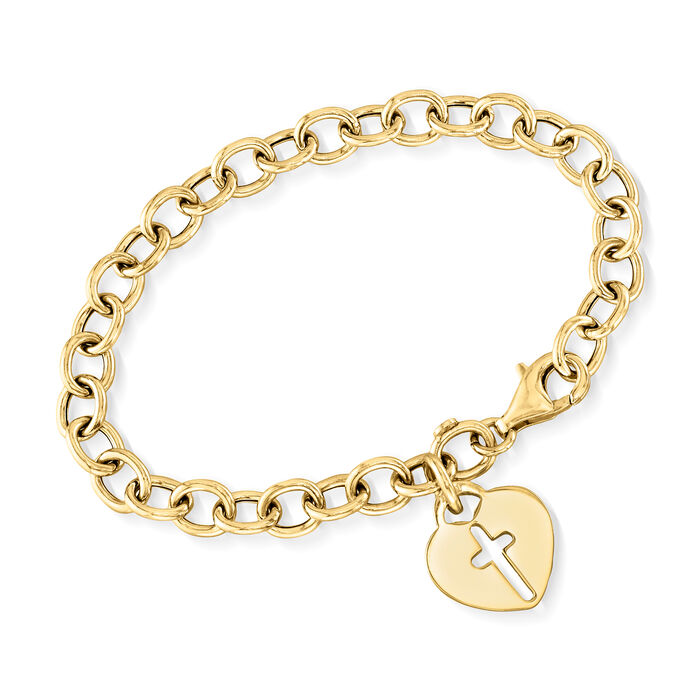 Italian 18kt Yellow Gold Over Sterling Silver Heart and Cross Charm Bracelet