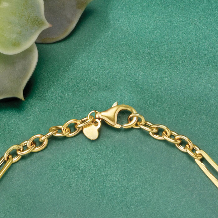 Italian 18kt Yellow Gold Alternating-Link Necklace