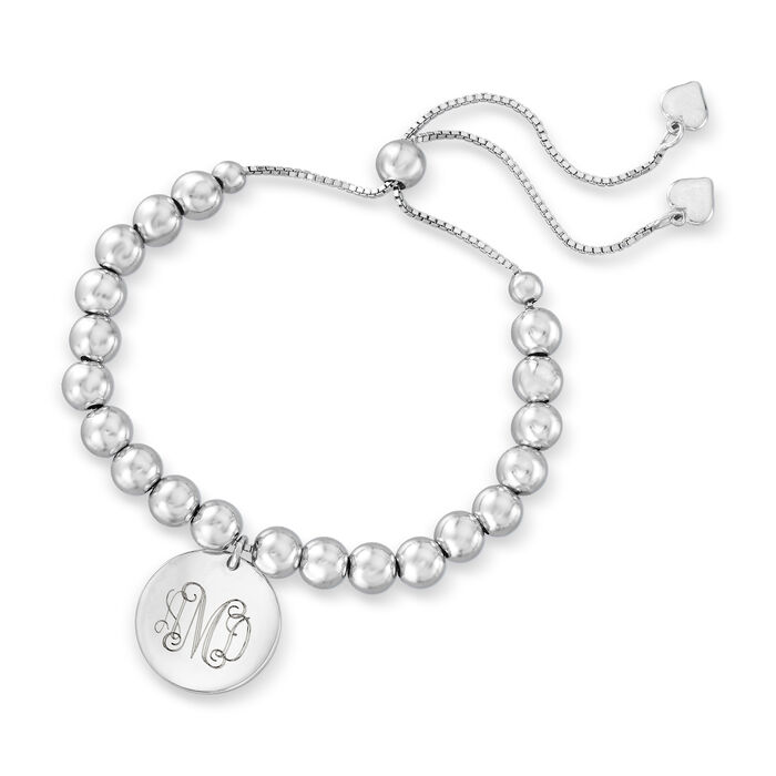 Sterling Silver Personalized Disc Beaded Bolo Bracelet