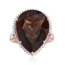 15.00 Carat Smoky Quartz and .31 ct. t.w. Diamond Ring in 14kt Rose Gold, , default