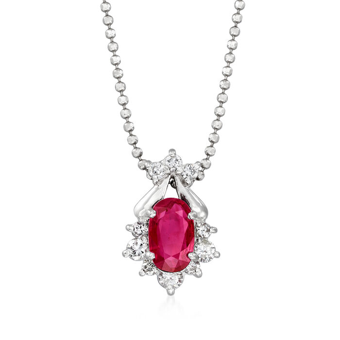 C. 1990 Vintage .69 Carat Ruby and .21 ct. t.w. Diamond Pendant Necklace in Platinum