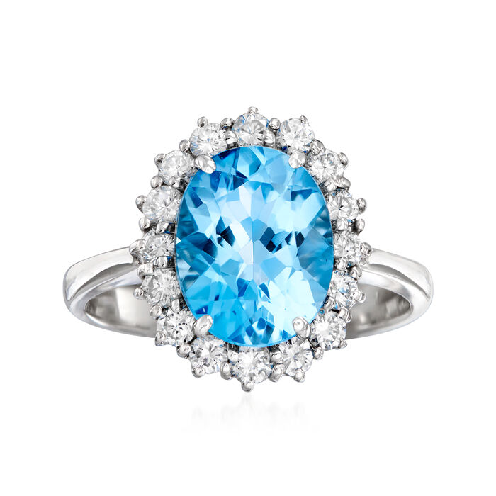 C. 1980 Vintage 3.65 Carat Blue Topaz and .55 ct. t.w. Diamond Ring in 18kt White Gold. Size 6.75, , default