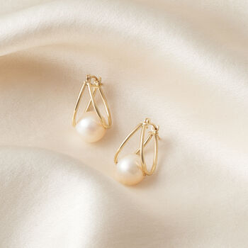 "8-9mm Cultured Pearl Double Hoop Earrings in 14kt Yellow Gold. 3/4"", , default"