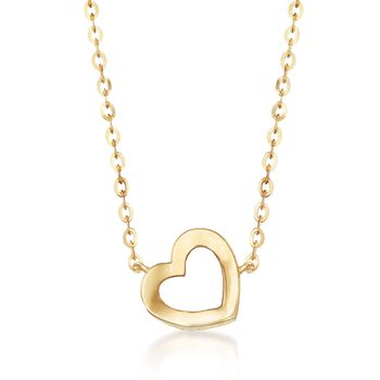 """18kt Yellow Gold Tilted Heart Necklace. 18"""", , default"""
