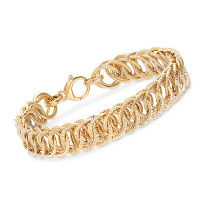 Italian 14kt Yellow Gold Textured Link Bracelet, , default