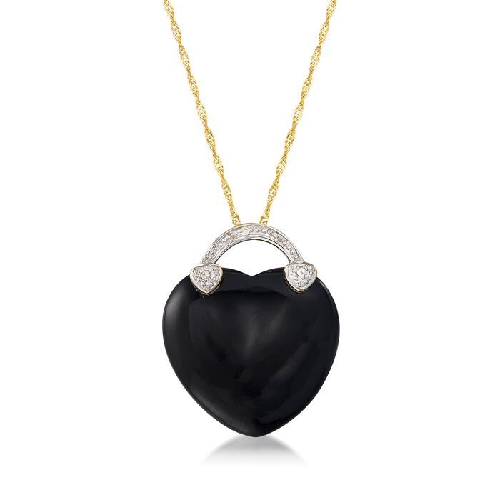 Black Onyx Heart Necklace in 14kt Yellow Gold, , default