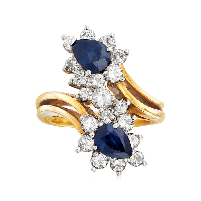 C. 1980 Vintage 1.50 ct. t.w. Sapphire and 1.40 ct. t.w. Diamond Bypass Ring in 18kt Yellow Gold. Size 6.25, , default