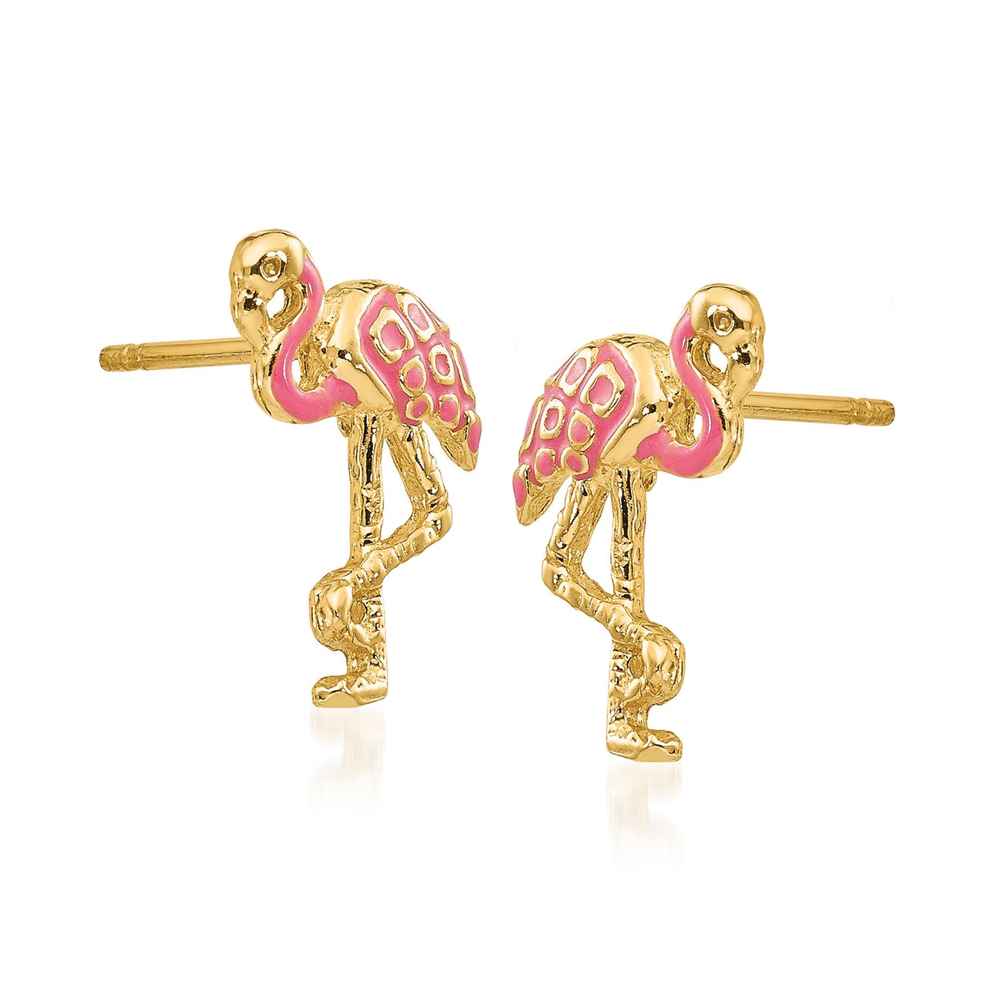14k Yellow Gold Pink Enameled Flamingo Post Earrings
