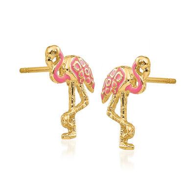 Pink Enamel Flamingo Earrings in 14kt Yellow Gold