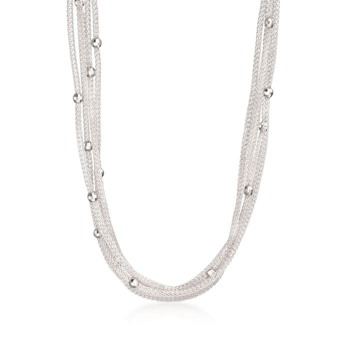 Italian Sterling Silver Five-Strand Beaded Mesh Necklace, , default