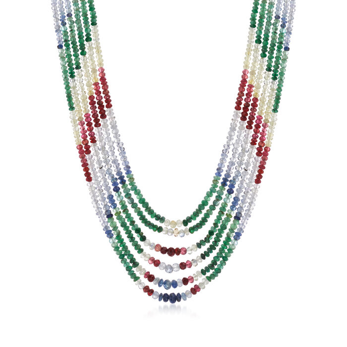"""C. 1980 Vintage Multi-Gem Multi-Strand Beaded Necklace with 14kt Yellow Gold. 18.5"""""""