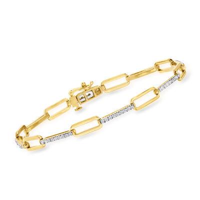 .50 ct. t.w. Diamond Alternating-Link Bracelet in 18kt Gold Over Sterling