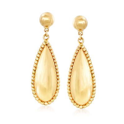 Italian 14kt Yellow Gold Teardrop Earrings, , default