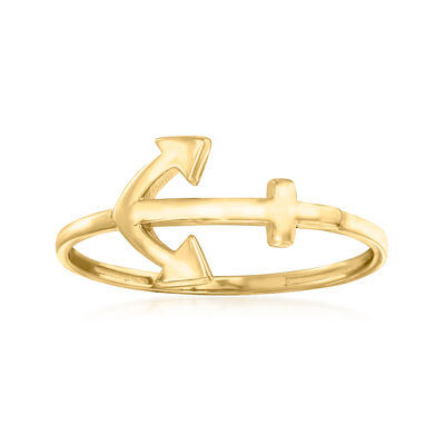 14kt Yellow Gold Sideways Anchor Ring
