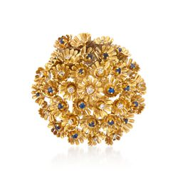 C. 1960 Vintage .35 ct. t.w. Diamond and .85 Synthetic Sapphire Floral Pin in 18kt Yellow Gold, , default