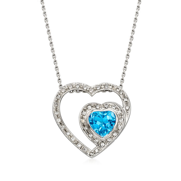 C. 1990 Vintage 2.20 Carat Blue Topaz and .30 ct. t.w. Diamond Heart Necklace in 18kt White Gold