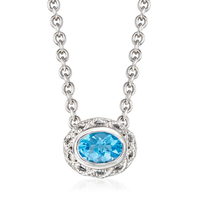 "Andrea Candela ""Rioja"" 2.40 Carat Blue Topaz Necklace in Sterling Silver"