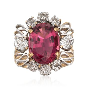 C. 1970 Vintage 5.50 Carat Pink Tourmaline and 1.50 ct. t.w. Diamond Ring in 14kt Yellow Gold. Size 6.5, , default