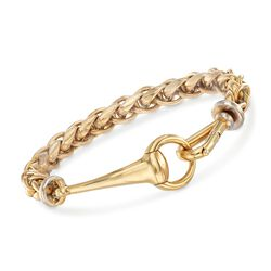 "Italian 18kt Yellow Gold Braided Link Bracelet With Horsebit Clasp. 8.25"", , default"