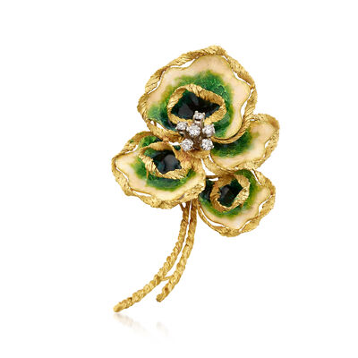 C. 1970 Vintage .55 ct. t.w. Diamond and Enamel Floral Pin in 18kt Yellow Gold, , default
