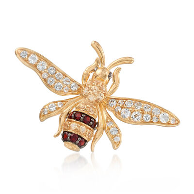 1.70 ct. t.w. Multi-Stone Yellow Jacket Pin in 18kt Gold Over Sterling, , default