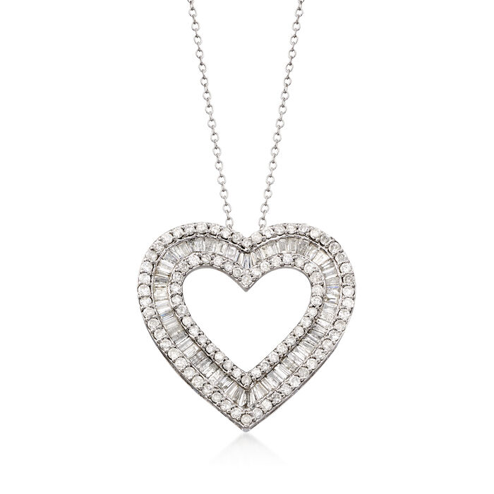 3.00 ct. t.w. Diamond Heart Pendant Necklace in Sterling Silver, , default