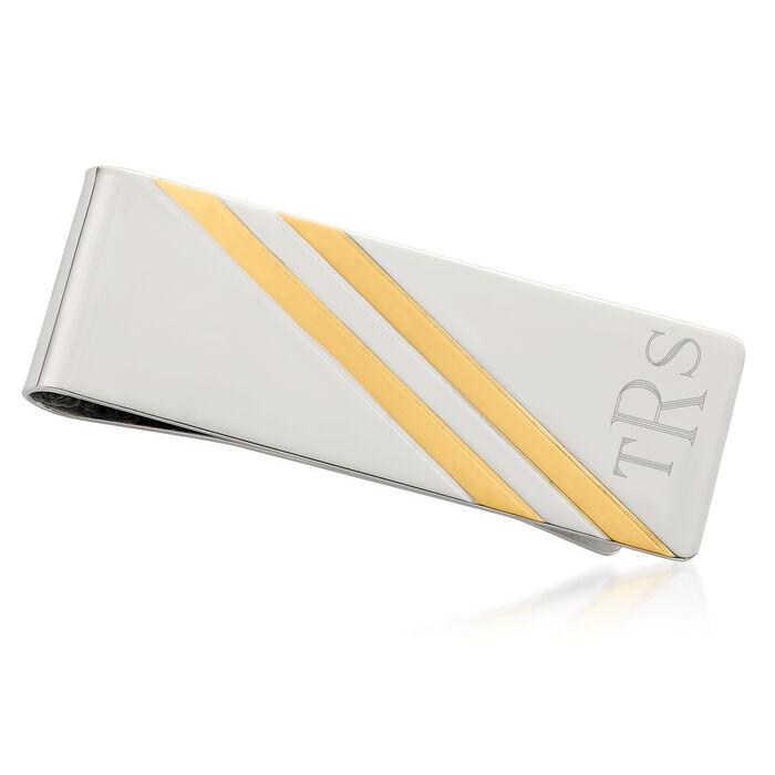 Sterling Silver and 14kt Yellow Gold Three-Initial Engravable Money Clip