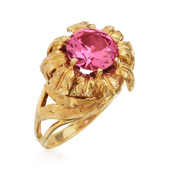 C. 1980 Vintage 2.15 Carat Synthetic Pink Sapphire Ring in 14kt Yellow Gold. Size 5.5, , default