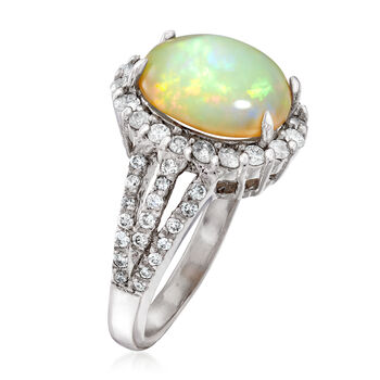 12x10mm Opal and .79 ct. t.w. Diamond Ring in 14kt White Gold, , default