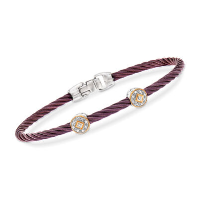 "ALOR ""Shades of Alor"" Burgundy Carnation Cable Station Bracelet with Diamond Accents in Stainless Steel and 18kt Yellow and White Gold, , default"