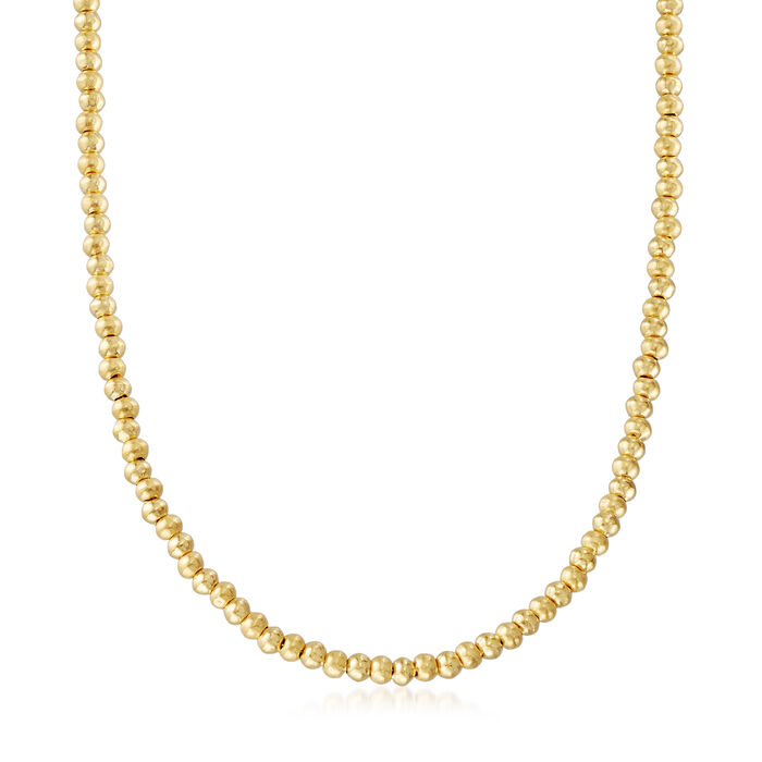 """C. 1990 Vintage 22kt Yellow Gold Beaded Necklace. 18"""", , default"""